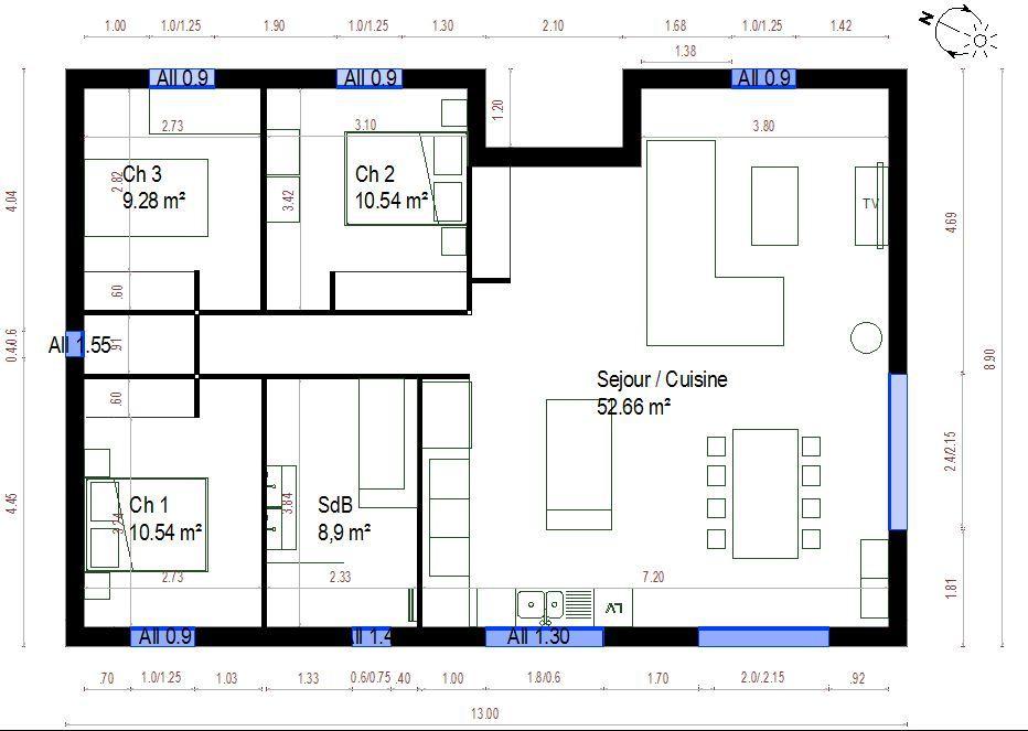 plan maison 100m2 - Plan De Maison De 100m2 Plein Pied