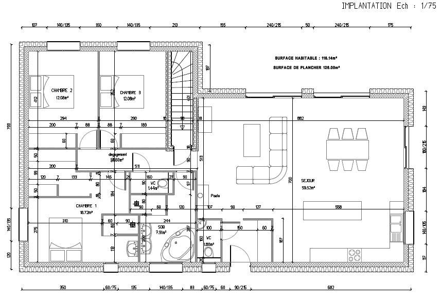 Voici le plan définitif (suppression de la fenêtre du dressing)... L'agencement sera modifié lors de l?implantation des cloisons (exemple porte du WC de l'entrée sera une porte coulissante, modification de la dispo du dressing ect) En tout cas le plan est prêt pour le permis de