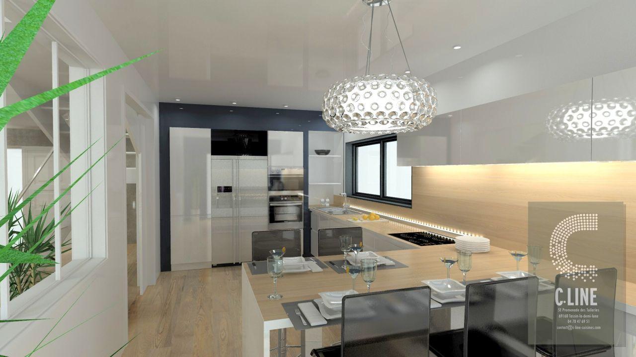 Vue1 en 3D de la cuisine