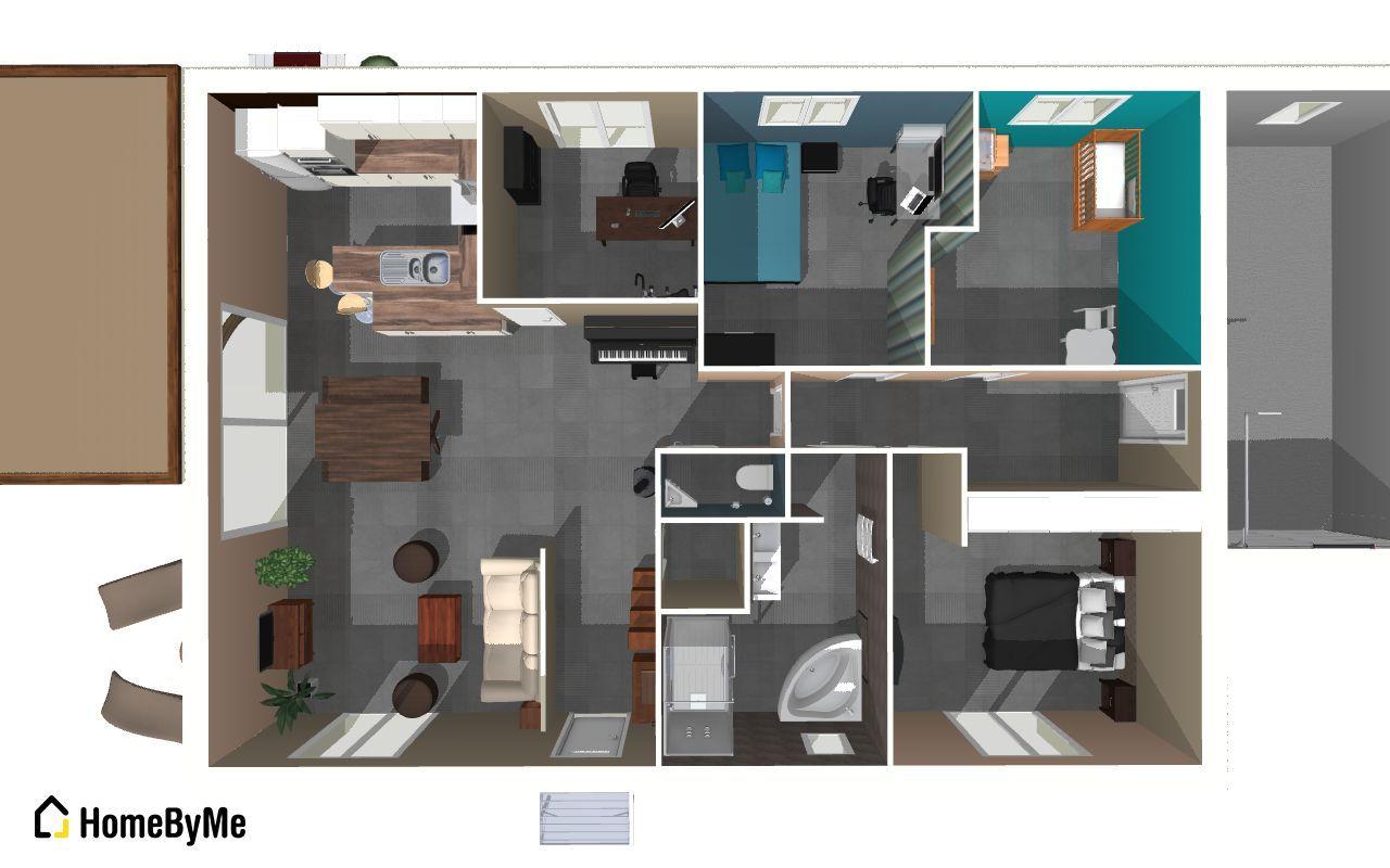 Vue d'ensemble en 3D de notre maison une fois meublée: <br /> Ne pas tenir compte des couleurs des murs qui ne sont pas encore déterminées...