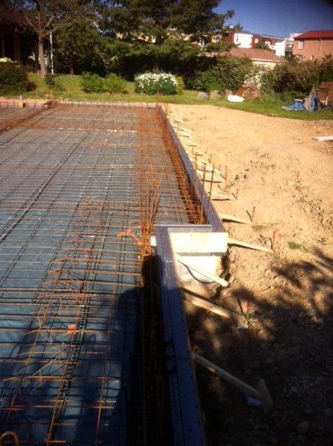 Ferraillage de la dalle portée terminé avec distancier et 2ème couche treillis