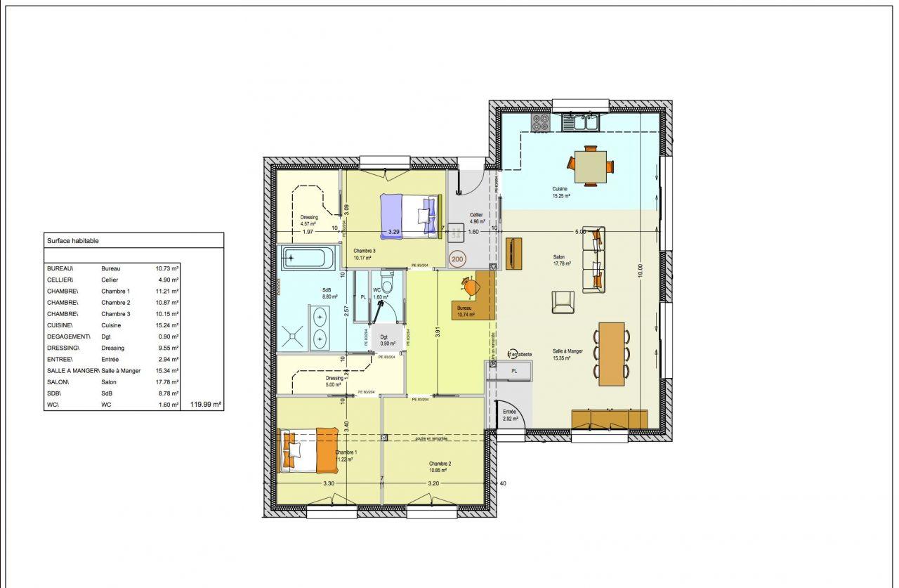 Maison plain pied 120 m2 62 messages - Plan de maison plain pied 120m2 ...