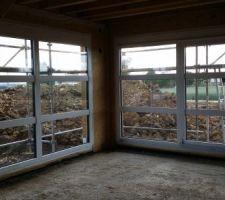 Baies vitrées: 1 fixe, 1 coulissante vues de l'intérieur