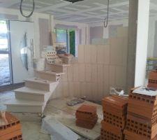 RDC au 1er étage en cours de montage