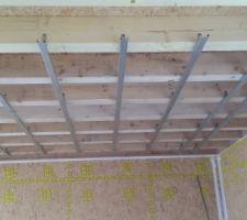 Mise en place des rails par le plâtrier pour pose des faux plafonds et cloisons périphériques   isolation intérieure.