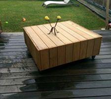 table basse avec le reste des lames de terrasse