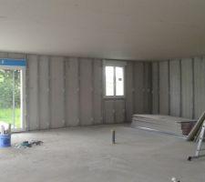 Voilà les rails placo des murs en place! une journée pour faire et defaire et une journée pour remettre d aplomb!!