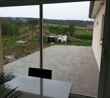 realisation de la dalle de la terrasse vue de l interieur