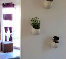 Des ptits pots pour accrocher des ptites plantes dans l'entrée!