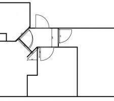 les deux portes qui se croisent a l ouverture avec des mesures du couloir possibilite de diminuer la largeur du couloir a 20 cm pour creer une degagement rectangulaire et changer le sens d ouverture des deux portes en questions