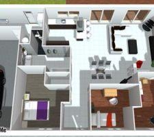 Vue d?ensemble avec la future cuisine et notre mobilier actuel(sauf chambres enfants)