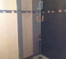 Douche italienne avec sa faïence anthracite, sa colonne cascade et sa paroi verre avec miroir plein pied