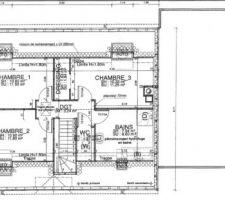 Plans des combles avec la salle de bain sur le devant de la maison