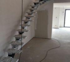 pose de la structure de l escalier
