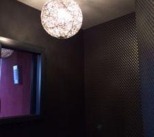 Création -Récupération d'un luminaire pour les toilettes du RDC.  Couleur Argent