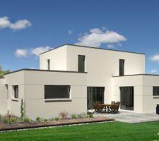 Vue 3D de le terrasse de la maison