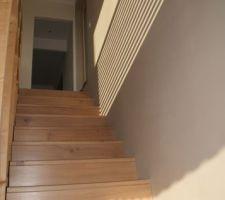 escalier chene huile 2 couches huile dure blanchie puis 1 couche huile dure classique