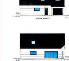 Vues sur la façade nord-est (le visuel de la porte n'est correct) et la façade sud-ouest (baie de 4m!!)