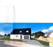 Vue de la maison implantée sur le terrain