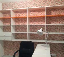 Creation d'un mur-bibliothèque sur mesure! Merci Papa! Bureau Ikea! Il manque encore la chaise de bureau! Lampe: Atmosphère Sud