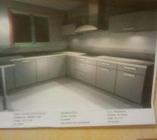 cuisine urban koreal de chez but gris clair et plan de travail blanc