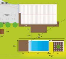 preparation des plans pour la piscine qui devrait commencer fin avril elle fera 10x5 avec des marches sur la largeur pour permettre a notre petite derniere de jouer