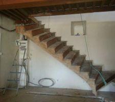 le mur en pierre n existe plus on demonte l escalier en le gardant intact enfin le plus possible car on compte bien le re utiliser