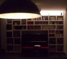 projet bibliotheque termine avec le ptit eclairage led en indirect sur le dessus d