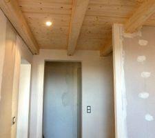 entree avec les spots encastres au plafond au fon l acces au couloir menant aux chambres