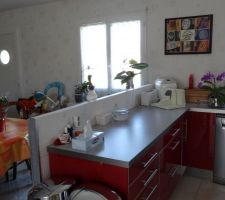 muret de separation entre cuisine et salle a manger avant pose plan bar