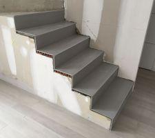 Carrelage en cours dans l'escalier