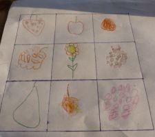Le potager en carré.....vu par ma fille de 5 ans ;-) de gauche à droite, en commençant par le haut: 1ère ligne: fraises, pomme, abricot 2ème ligne: citrouille, fleurs, cassis 3ième ligne: poires, cerises, framboises