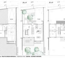 Plan des trois étages