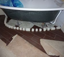 Préparation du tablier de baignoire