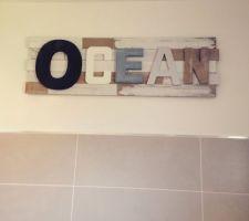 Deco salle de bain achetée chez maison du monde et posée au dessus de la baignoire
