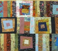 dessus de lit crazy log cabin en patchwork detail