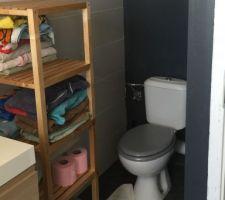 toilette du haut dans salle de bain sol vinyl en rouleau effet carrelage