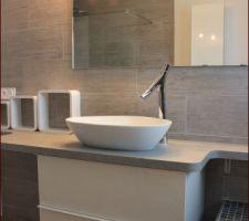plan de travail vasque et mitigeur en place