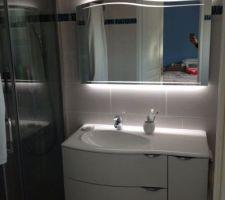 Meuble salle de bain avec son miroir très content