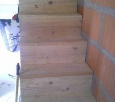 Vu sur les escaliers en bois fait maison!!