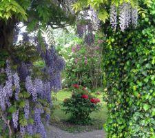Une voûte de verdure invite à passer d'une partie à l'autre du jardin.