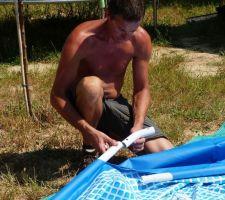 ZE piscine - montage!! C'est une Intex tubulaire, diamètre 3,66m, hauteur 99cm