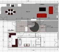 le plan de la maison renovee en haut cuisine salle a manger salonau milieu hall d entree cage d escalier buanderieen bas la suite parentale avec dressing sdb chambre