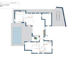 voici le plan presque definitif de notre maison ne manque que le local technique de la piscine et quelques modifications apportees sur la salle d eau de la suite parentale