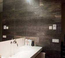 Carrelage Tau ceramica CORTEN B, 60/60 au sol   mosaïque en fond de douche   30/60 aux murs. Salle d eau parentale.