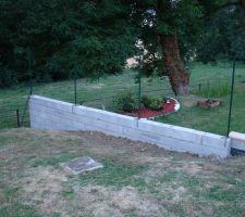 mur de retenu de terre au fond de notre jardin en limite de propriete avec ces piquets de grillage scelles