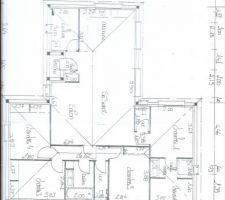 le plan de la maison en forme de t 125 m2 habitable 3 chambres 11 m2 une suite parentale 20m2 une piece de vie de 52m2 un cellier 6m une salle de bain et 2 wc