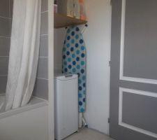La salle de bain baignoire et machine a laver