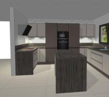 apres reflexion et decision d agrandissement de la maison nous avons revu et corrige notre projet cuisine