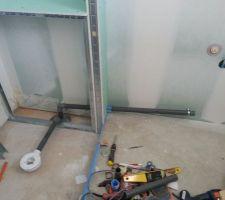 raccordement des evacs douche et lavabos
